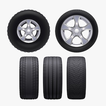 Illustration de différentes roues de voiture réalistes vue avant et latérale