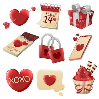 Illustration de différents éléments de la saint-valentin