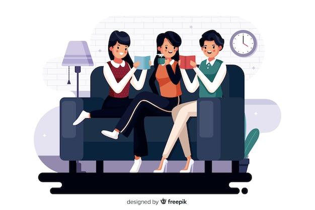 Illustration de différents jeunes lisant ensemble