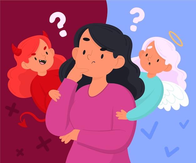 Illustration de dilemme éthique de dessin animé