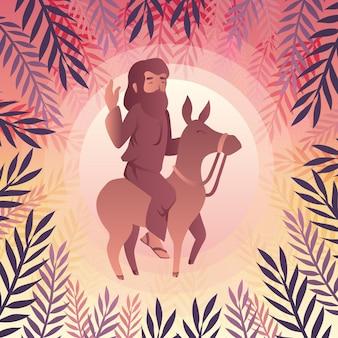 Illustration de dimanche des palmiers dégradé avec jésus et âne