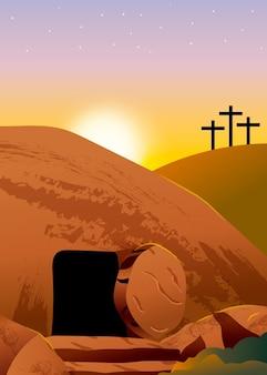 Illustration de dimanche de pâques dégradé