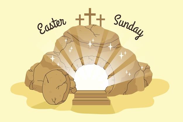 Illustration de dimanche de pâques dessinée à la main avec des croix