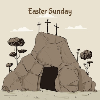 Illustration de dimanche de pâques dessinés à la main