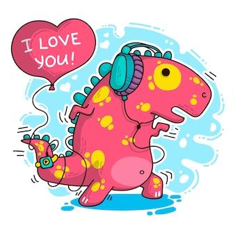 Illustration sur dinosaure amoureux