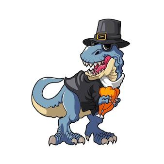 Illustration de dinosaure mangeant la conception de vecteur de coq de dinde