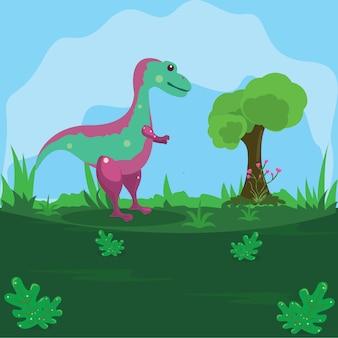 Illustration d'un dinosaure sur une terre verte avec un fond de ciel bleu