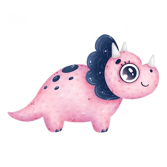 Illustration de dinosaure tricératops rose dessin animé mignon