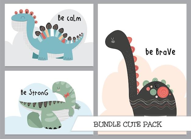 Illustration de dinosaures plats de dessin animé mignon collection