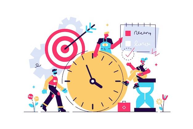 Illustration de discipline. concept de personnes de système de contrôle de soi minuscule plat. cible abstraite et liste de tâches style de vie de réussite symbolique avec gestion productive du temps et développement de l'effort d'objectif.