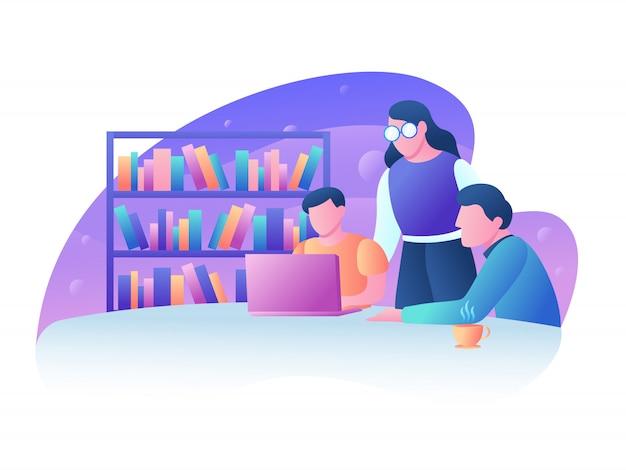 Illustration de discussion de travail d'équipe