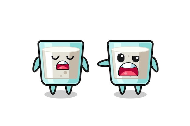 Illustration de la dispute entre deux personnages de lait mignons, design de style mignon pour t-shirt, autocollant, élément de logo