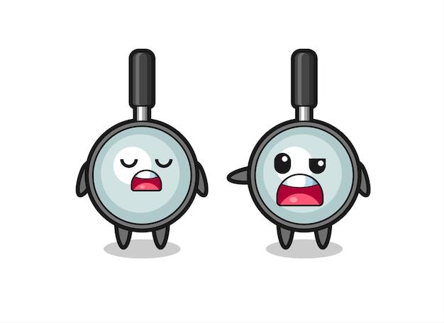 Illustration de la dispute entre deux personnages de loupe mignons, design de style mignon pour t-shirt, autocollant, élément de logo