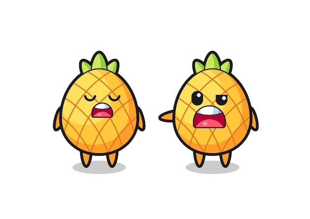 Illustration de la dispute entre deux personnages mignons d'ananas, design de style mignon pour t-shirt, autocollant, élément de logo