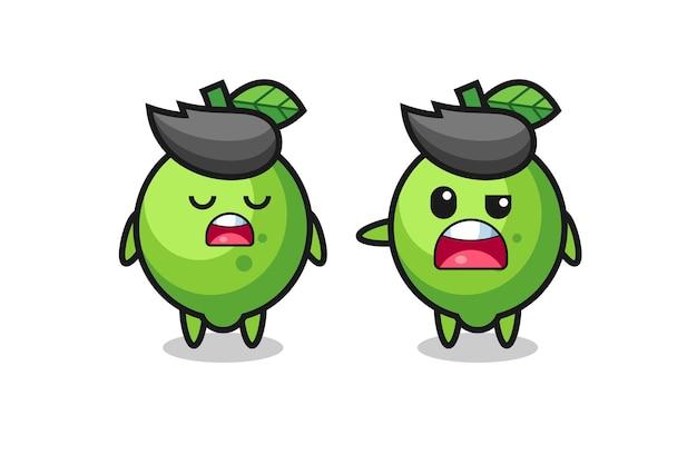 Illustration de la dispute entre deux personnages mignons de citron vert, design de style mignon pour t-shirt, autocollant, élément de logo