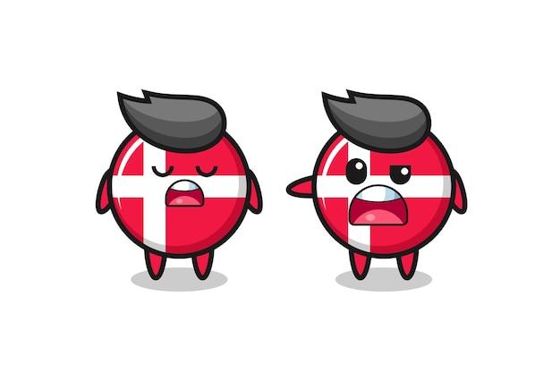 Illustration de la dispute entre deux personnages mignons d'insigne du drapeau du danemark, design de style mignon pour t-shirt, autocollant, élément de logo