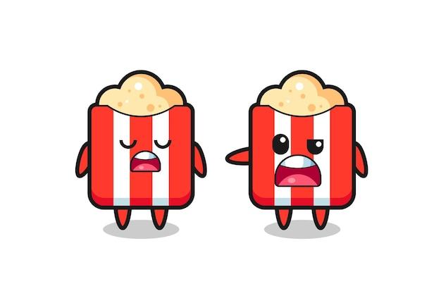 Illustration de la dispute entre deux personnages mignons de pop-corn, design de style mignon pour t-shirt, autocollant, élément de logo