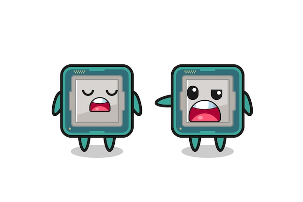 Illustration de la dispute entre deux personnages de processeur mignons, design de style mignon pour t-shirt, autocollant, élément de logo
