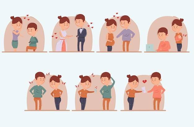 Illustration de divorce de mariage de dessin animé