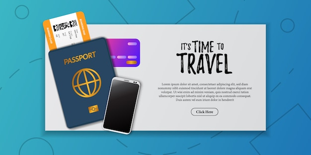 Illustration de document de vacances voyage. carte d'embarquement billet d'avion, immigration de passeport, carte de crédit, téléphone, vue de dessus. publicité touristique de vacances