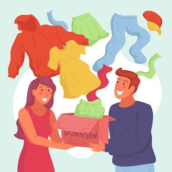 Illustration de don de vêtements dessinés à la main avec des gens