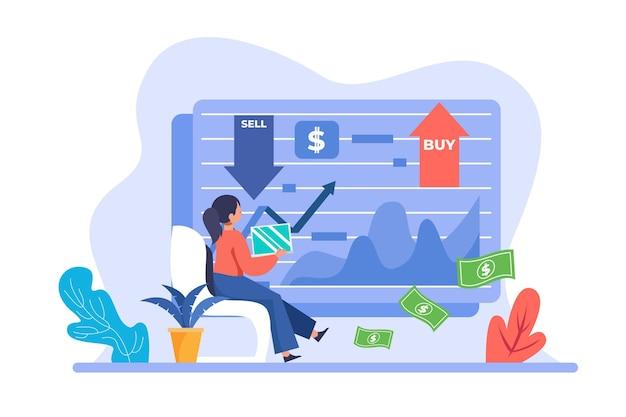 Illustration de données boursières design plat