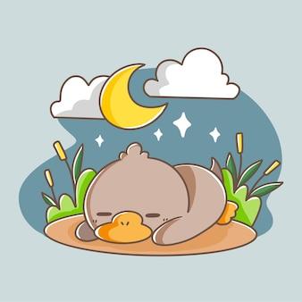 Illustration de doodle adorable canard endormi
