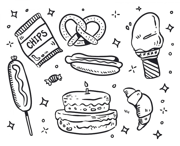 Illustration de doodle alimentaire