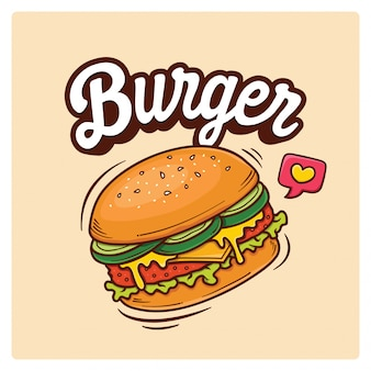 Illustration de doodle big burger dessiné à la main