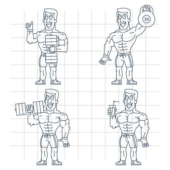 Illustration, doodle bodybuilder tenant un cocktail d'haltères kettlebell, format eps 10