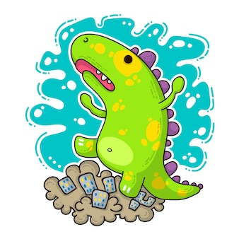 Illustration de doodle cool dino
