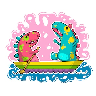Illustration de doodle cool dino