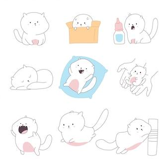 Illustration de doodle dessin animé chats mignons isolé sur fond blanc.