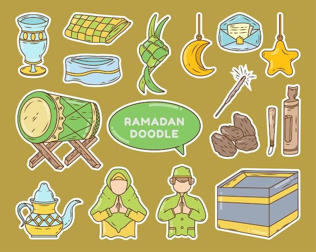 Illustration de doodle de dessin animé élément ramadan dessiné à la main