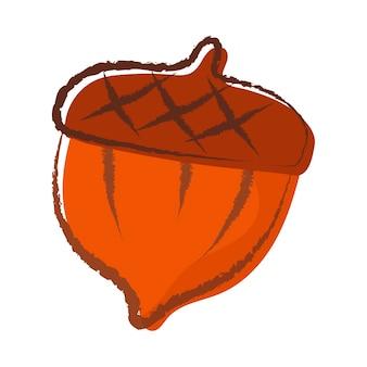 Illustration de doodle de dessin animé isolé de vecteur de gland de forêt.