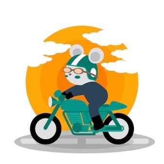Illustration de doodle de dessin animé mignon moto racing