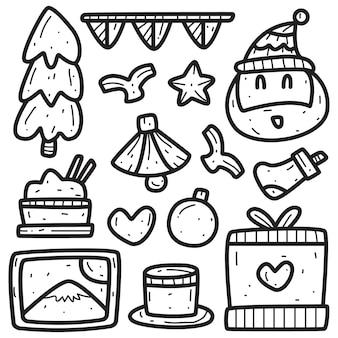Illustration de doodle de dessin animé de noël kawaii
