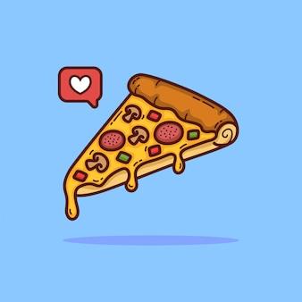 Illustration de doodle de dessin animé de pizza