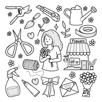 Illustration de doodle dessinés à la main de fleuriste