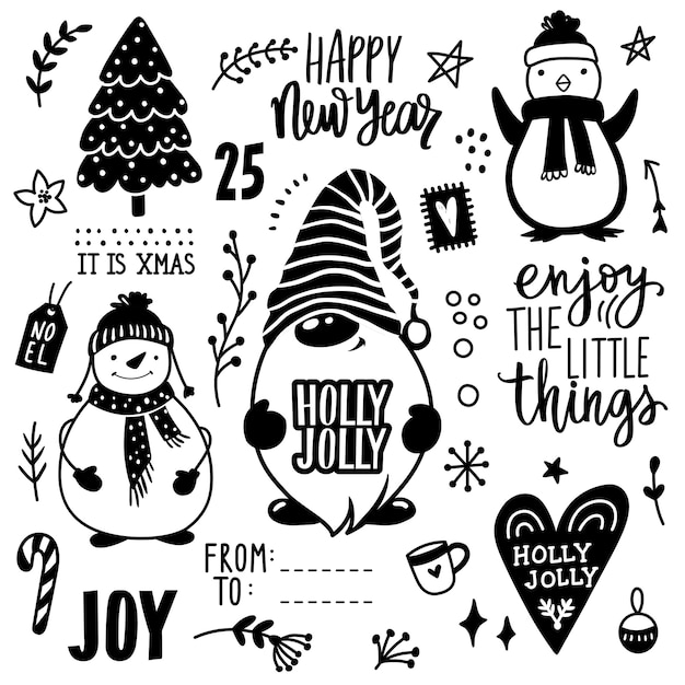 Illustration de doodle dessinés à la main de noël.