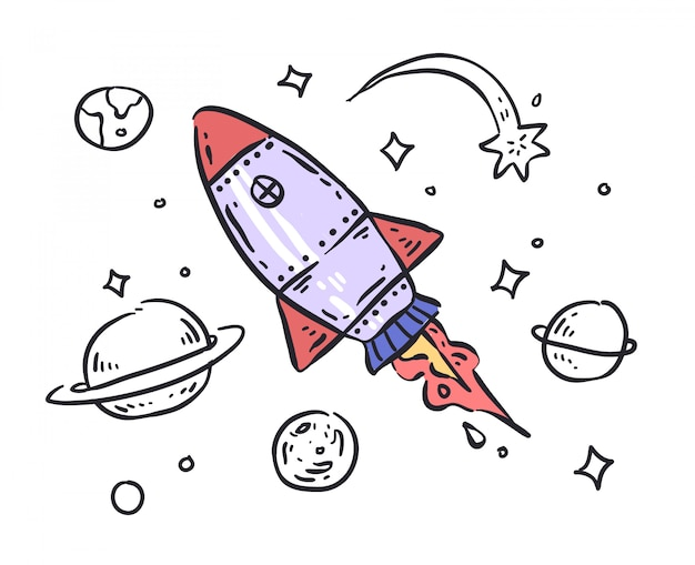 Illustration de doodle de fusée