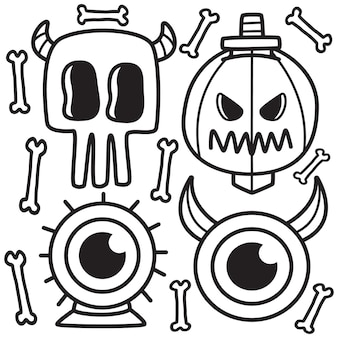 Illustration de doodle halloween dessinés à la main
