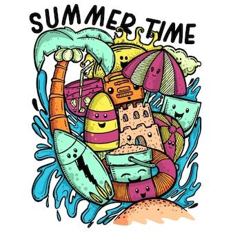 Illustration de doodle de l'heure d'été