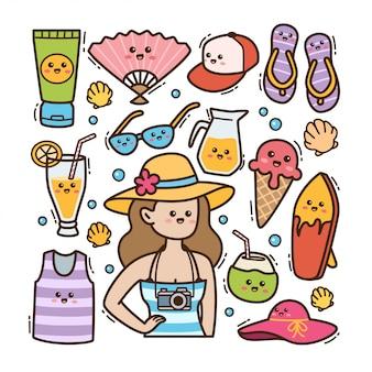 Illustration de doodle kawaii plage d'été