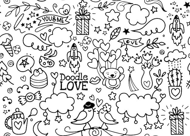 Illustration de doodle love dessinés à la main