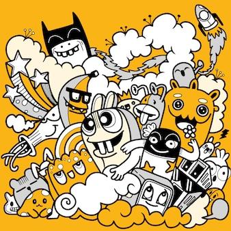 Illustration de doodle mignon, ensemble doodle de monstre drôle