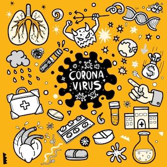 Illustration de doodle mignon pour covid-19, élément de griffonnage de virus corona pour la conception infographique