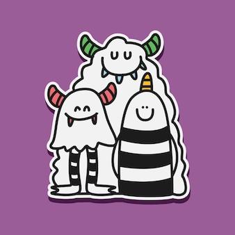 Illustration de doodle monstre de dessin animé kawaii