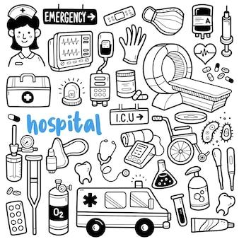 Illustration de doodle noir et blanc de l'hôpital