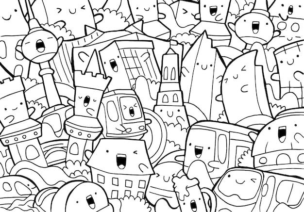 Illustration de doodle paysage urbain de berlin en style cartoon